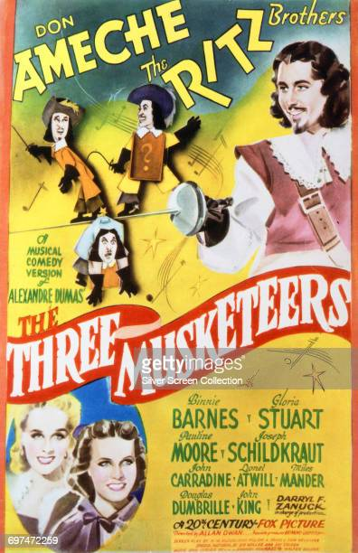 Actors Don Ameche as D'Artagnan the Ritz Brothers as the Three Lackeys Pauline Moore as Lady Constance and Gloria Stuart as Queen Anne on a poster...