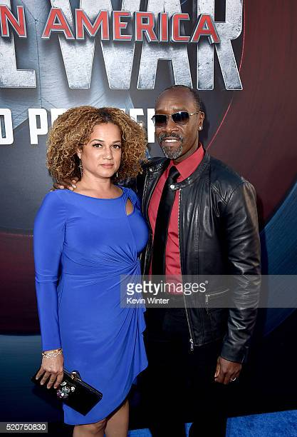 Actors Don Cheadle and Bridgid Coulter attend the premiere of Marvel's Captain America Civil War at Dolby Theatre on April 12 2016 in Los Angeles...