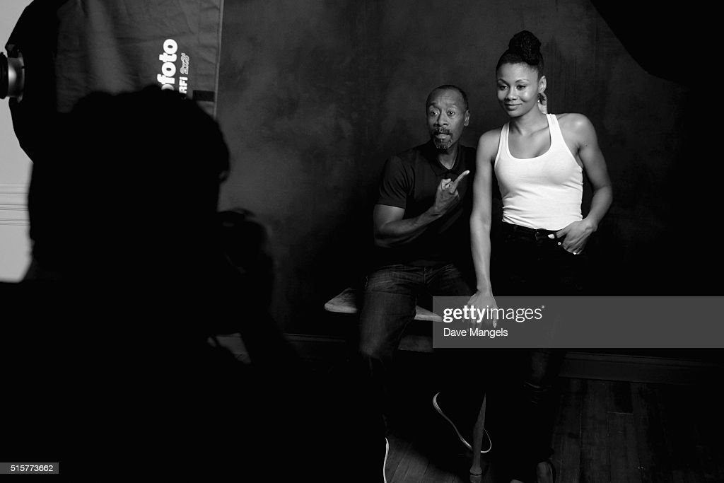 Actors Don Cheadle and Emayatzy Corinealdi of 'Miles Ahead' are seen behind the scenes in the Getty Images SXSW Portrait Studio powered by Samsung on March 15, 2016 in Austin, Texas.