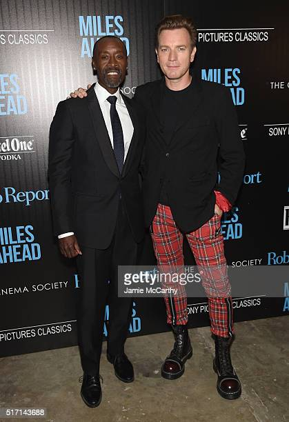 Actors Don Cheadle and Ewan McGregor arrive at the screening of Sony Pictures Classics' Miles Ahead hosted by The Cinema Society with Ketel One and...