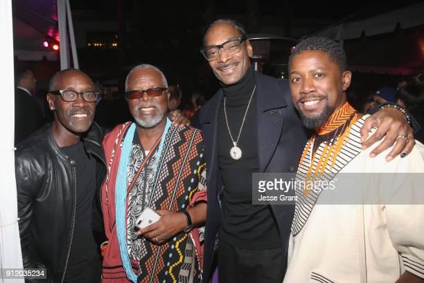 Actors Don Cheadle and John Kani rapper Snoop Dogg and actor Atandwa Kani at the Los Angeles World Premiere of Marvel Studios' BLACK PANTHER at Dolby...