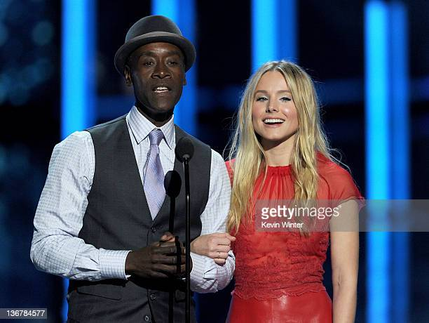 Actors Don Cheadle and Kristen Bell speak onstage at the 2012 People's Choice Awards at Nokia Theatre LA Live on January 11 2012 in Los Angeles...