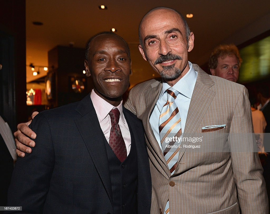 Actors Don Cheadle and Shaun Toub attend Marvel's Iron Man 3 Premiere after party at Hard Rock Cafe on April 24, 2013 in Hollywood, California.