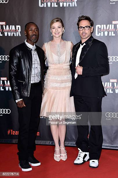 Actors Don Cheadle Emily VanCamp and Robert Downey Jr attend 'Captain America Civil War' Premiere at Le Grand Rex on April 18 2016 in Paris France