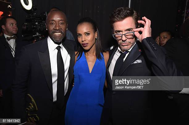 Actors Don Cheadle Kerry Washington and Robert Downey Jr pose backstage at the 2016 ABFF Awards A Celebration Of Hollywood at The Beverly Hilton...