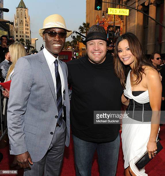 Actors Don Cheadle Kevin James and wife Steffiana De La Cruz arrive at the world wide premiere of Iron Man 2 Premiere held at the El Capitan Theatre...