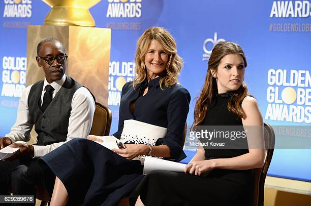 Actors Don Cheadle Laura Dern and Anna Kendrick attend Moet Chandon toast to the 74th Annual Golden Globe Awards nominations on December 12 2016 in...