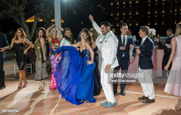 Actors Don Diamont and Jacqueline MacInnes Wood and the cast of The Bold and the Beautiful on the dance floor celebrating the 'The Bold and The...