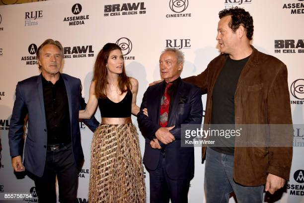 Actors Don Johnson Jennifer Carpenter Udo Kier and Vince Vaughn arrive at the premiere of RLJE Films' 'Brawl In Cell Block 99' at the Egyptain...
