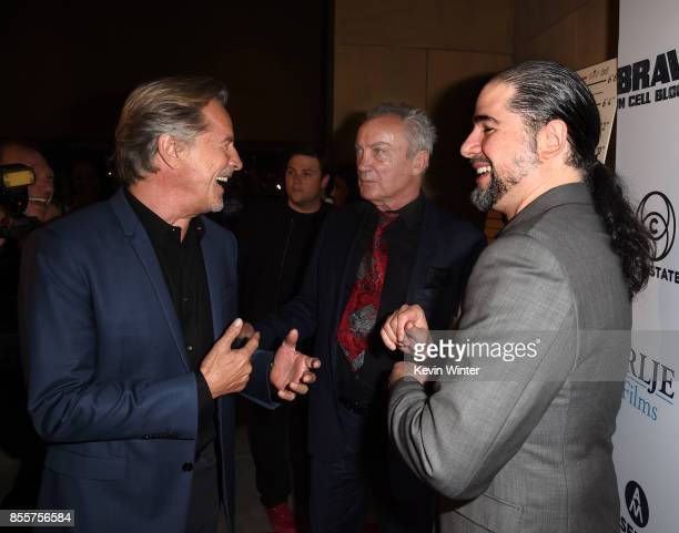 Actors Don Johnson Udo Kier and director S Craig Zahler arrive at the premiere of RLJE Films' 'Brawl In Cell Block 99' at the Egyptain Theatre on...