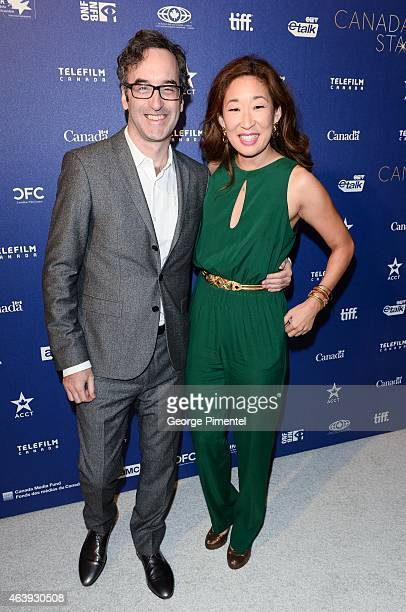 Actors Don McKellar and Sandra Oh attend the Telefilm Canada Oscar Week Gala held at The Four Seasons Hotel on February 19 2015 in Beverly Hills...