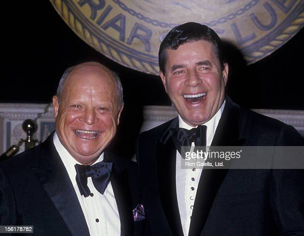 Actors Don Rickles and Jerry Lewis attend New York Friar's Club Tribute Honoring Barbara Walters on May 14 1988 at the Waldorf Hotel in New York City
