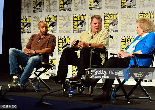 Actors Donald Faison William Shatner and Betty White speak onstage at TV Land's Legends Of TV Land Panel during the 2014 Comic Con International...