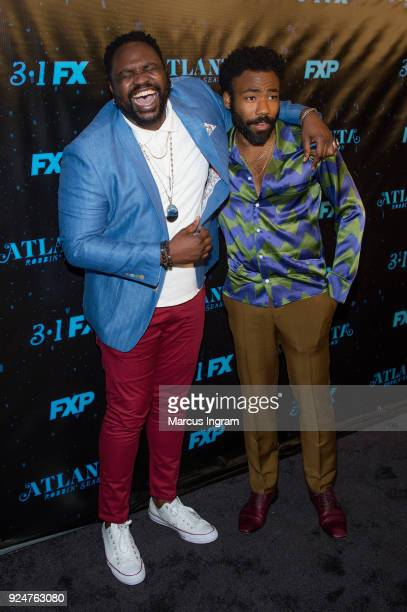 Actors Donald Glover and Brian Tyree Henry attend the Atlanta Robbin' Season Atlanta premiere at Starlight Six Drive on February 26 2018 in Atlanta...