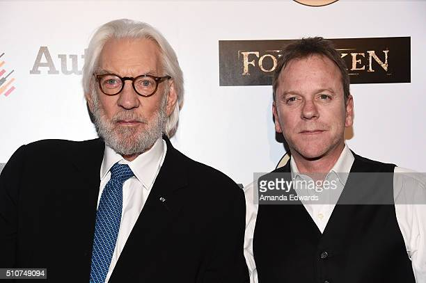 Actors Donald Sutherland and Kiefer Sutherland arrive at a screening for Momentum Pictures' Forsaken at the Autry Museum of the American West on...