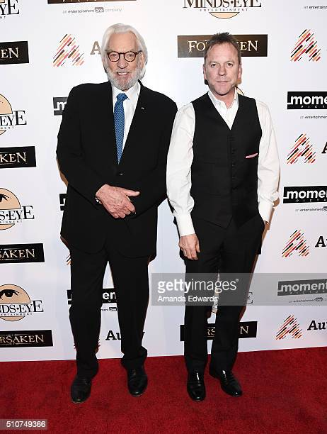 Actors Donald Sutherland and Kiefer Sutherland arrive at a screening for Momentum Pictures' 'Forsaken' at the Autry Museum of the American West on...