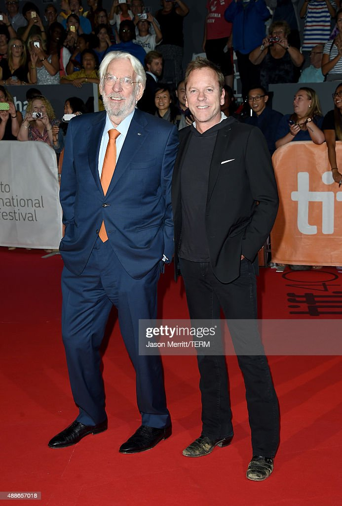 Actors Donald Sutherland (L) and Kiefer Sutherland attend the 'Forsaken' premiere during the 2015 Toronto International Film Festival at Roy Thomson Hall on September 16, 2015 in Toronto, Canada.