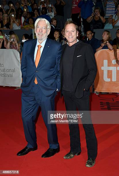 """Actors Donald Sutherland and Kiefer Sutherland attend the """"Forsaken"""" premiere during the 2015 Toronto International Film Festival at Roy Thomson Hall..."""
