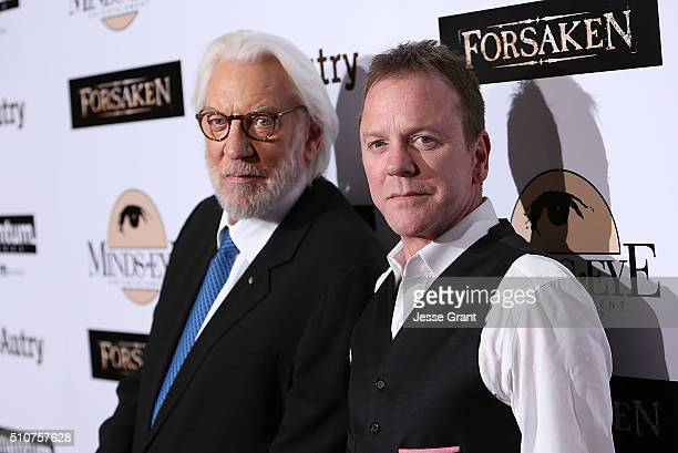 Actors Donald Sutherland and Kiefer Sutherland attend the Momentum Pictures' screening of 'Forsaken' at the Autry Museum of the American West on...