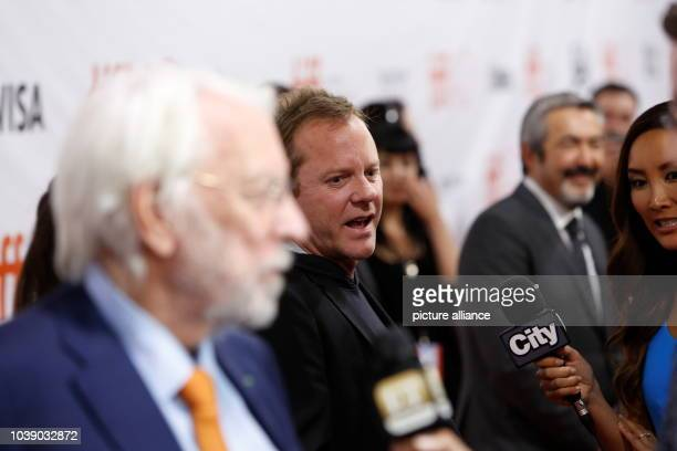 Actors Donald Sutherland and Kiefer Sutherland attend the premiere of Forsaken during the 40th Toronto International Film Festival TIFF at Roy...