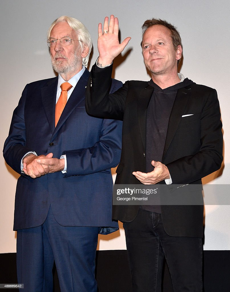 Actors Donald Sutherland (L) and Kiefer Sutherland speak onstage at the 'Forsaken' premiere during the 2015 Toronto International Film Festival at Roy Thomson Hall on September 16, 2015 in Toronto, Canada.