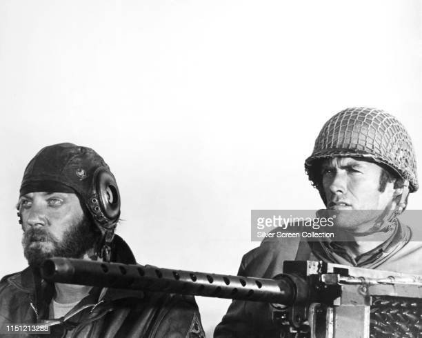 Actors Donald Sutherland as Oddball and Clint Eastwood as Kelly in the war film 'Kelly's Heroes' 1970
