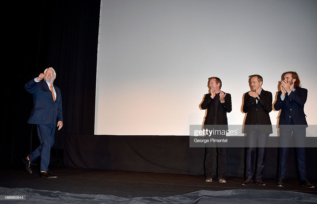 Actors Donald Sutherland (L), Kiefer Sutherland (2nd L) and Aaron Poole (R) attend the 'Forsaken' premiere during the 2015 Toronto International Film Festival at Roy Thomson Hall on September 16, 2015 in Toronto, Canada.