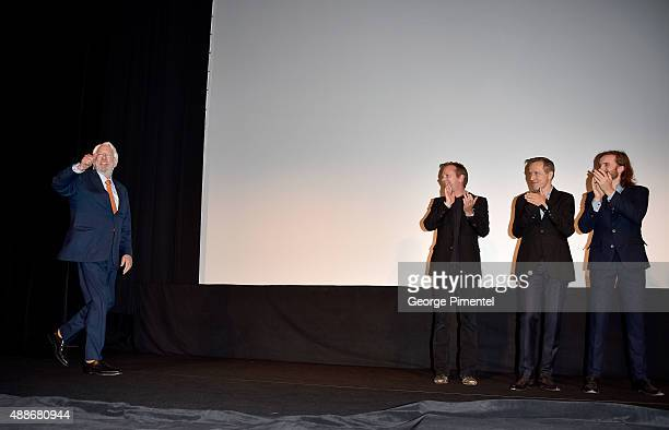 Actors Donald Sutherland Kiefer Sutherland and Aaron Poole attend the Forsaken premiere during the 2015 Toronto International Film Festival at Roy...