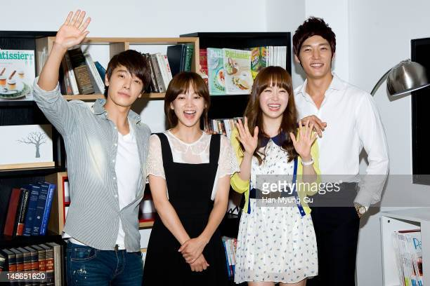 Actors Donghae of South Korean boy band Super Junior, Yoon Seung-A, Yoo So-Young and Choi Jin-Hyuk attend during to promote the Channel A Drama 'Miss...
