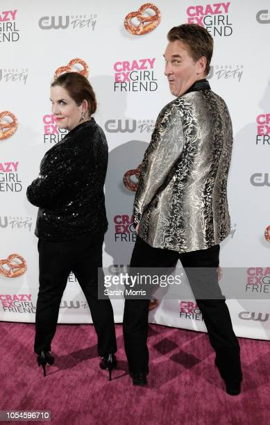 "Actors Donna Lynne Champlin and Pete Gardner attend the ""Crazy Ex-Girlfriend"" season 4 premiere party at El Cid on October 13, 2018 in Los Angeles,..."