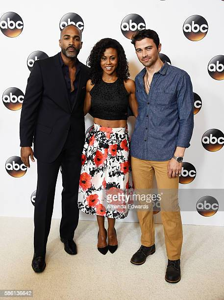 Actors Donnell Turner Vinessa Antoine and Matt Cohen attend the Disney ABC Television Group TCA Summer Press Tour on August 4 2016 in Beverly Hills...
