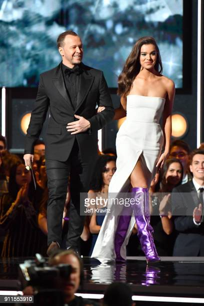 Actors Donnie Wahlberg and Hailee Steinfeld speak onstage during the 60th Annual GRAMMY Awards at Madison Square Garden on January 28 2018 in New...