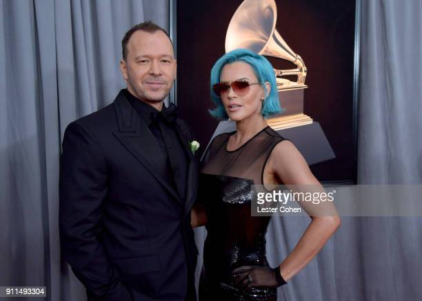 Actors Donnie Wahlberg and Jenny McCarthy attend the 60th Annual GRAMMY Awards at Madison Square Garden on January 28 2018 in New York City