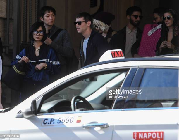 Actors Doona Bae and Brian Jacob Smith on the set of Netflix TV scifi series 'Sense8' in the Station in Naples