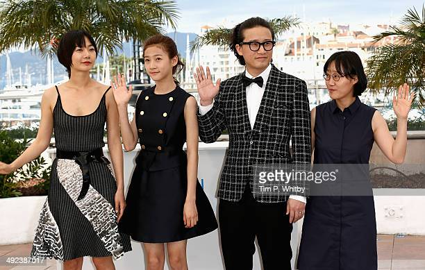 Actors Doona Bae Kim Sae Ron Song Sae Byuk and director July Jung attends the 'DoheeYa' photocall at the 67th Annual Cannes Film Festival on May 20...