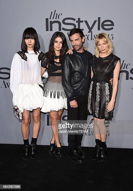 Actors Doona Bae Selena Gomez fashion designer Nicolas Ghesquiere and actress Michelle Williams attend the InStyle Awards at Getty Center on October...