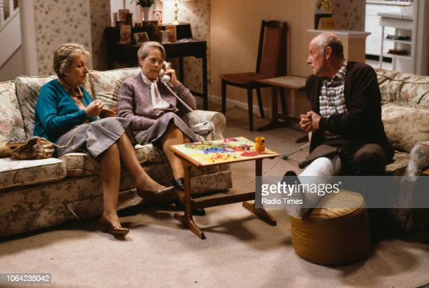 Actors Doreen Mantle Annette Crosbie and Richard Wilson in a scene from Christmas episode 'Who's Listening' of the BBC Television sitcom 'One Foot in...