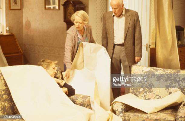 Actors Doreen Mantle Annette Crosbie and Richard Wilson in a scene from episode 'Only a Story' of the BBC Television sitcom 'One Foot in the Grave'...
