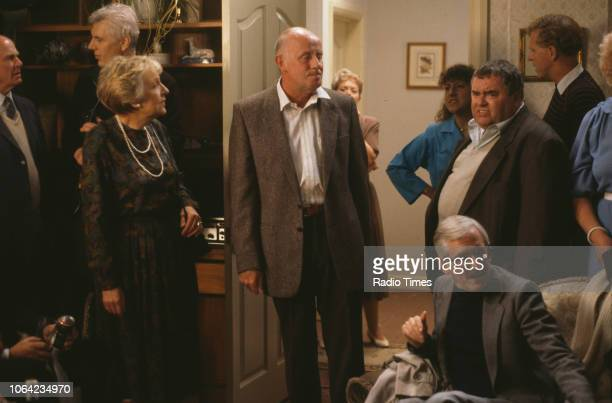 Actors Doreen Mantle Richard Wilson and Annette Crosbie in a scene from the BBC Television sitcom 'One Foot in the Grave' circa 1995