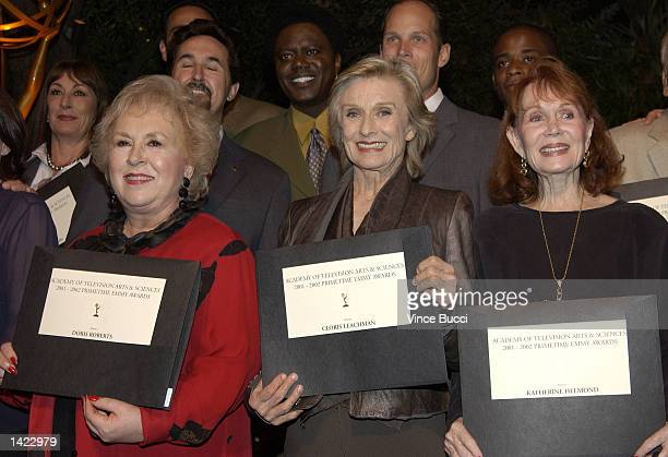 Actors Doris Roberts Cloris Leachman and Katherine Helmond attend a reception by the Academy of Television Arts and Sciences for Emmy Award nominees...