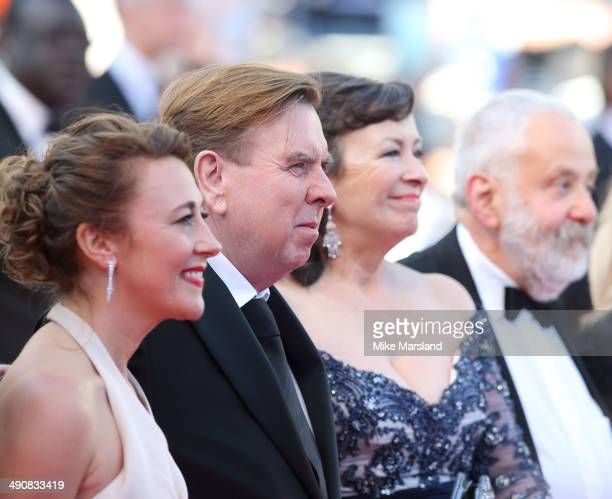 Actors Dorothy Atkinson Timothy Spall Marion Bailey and Mike Leigh attend the 'MrTurner' Premiere at the 67th Annual Cannes Film Festival on May 15...