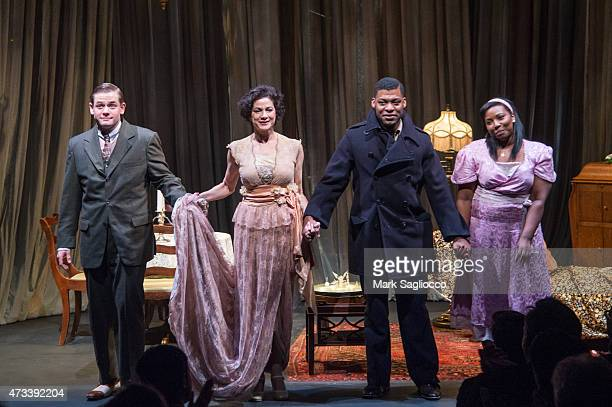 Actors Doug Harris Saundra Santiago Richard Prioleau and Olivia Washington attend The Glass Menagerie Opening Night Curtain Call at the 47th Street...