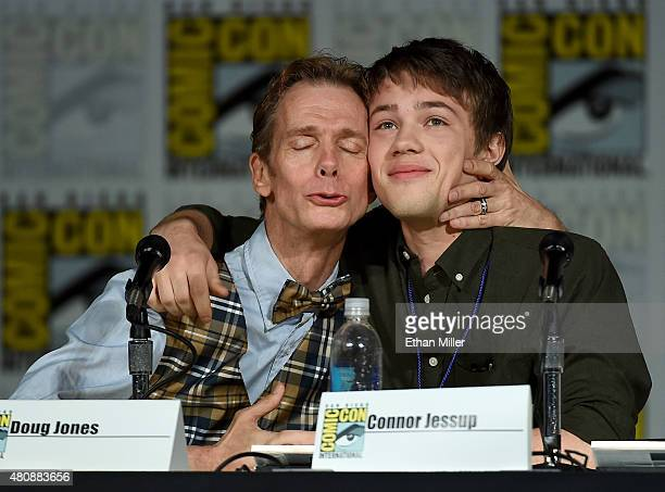Actors Doug Jones and Connor Jessup joke around as they attend the Falling Skies The Final Farewell panel during ComicCon International 2015 at the...