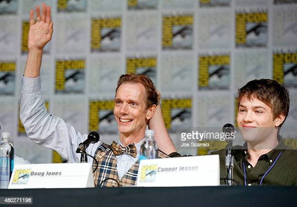 Actors Doug Jones and Connor Jessup speak onstage at the Falling Skies panel during TNT at ComicCon International San Diego 2015 on July 10 2015 in...