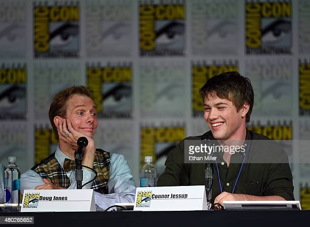 Actors Doug Jones and Connor Jessup speak onstage at the Falling Skies The Farewell panel during ComicCon International 2015 at the San Diego...