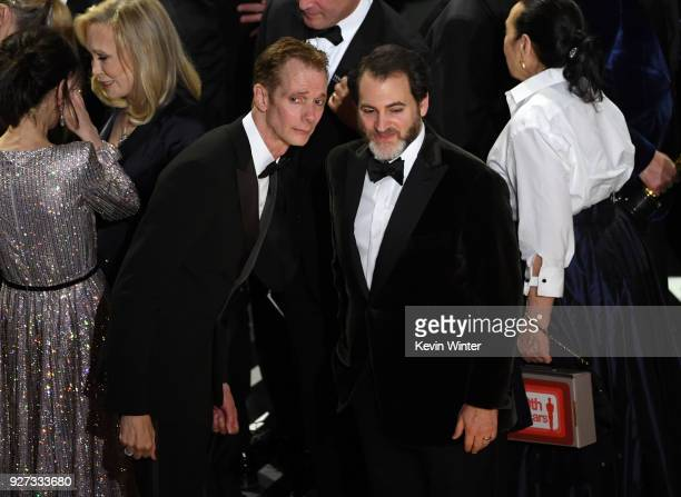 Actors Doug Jones and Michael Stuhlbarg accept Best Picture for 'The Shape of Water' onstage during the 90th Annual Academy Awards at the Dolby...