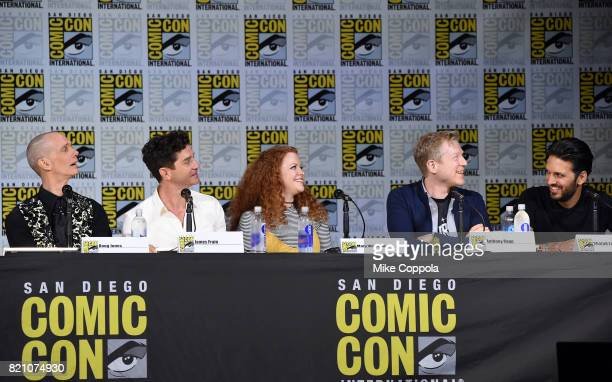 Actors Doug Jones James Frain Mary Wiseman Anthony Rapp and Shazad Latif attend 'Star Trek Discovery' panel during ComicCon International 2017 at San...