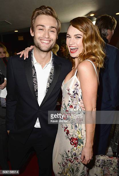 Actors Douglas Booth and Lily James attend the premiere of Screen Gems' 'Pride and Prejudice and Zombies' on January 21 2016 in Los Angeles California