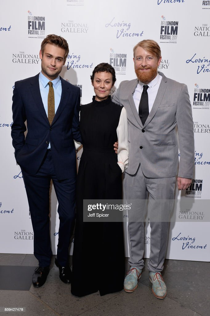 Actors Douglas Booth, Helen McCrory and director Hugh Welchman attend the UK Premiere of 'Loving Vincent' during the 61st BFI London Film Festival on October 9, 2017 in London, England.
