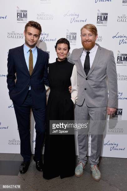 Actors Douglas Booth Helen McCrory and director Hugh Welchman attend the UK Premiere of 'Loving Vincent' during the 61st BFI London Film Festival on...